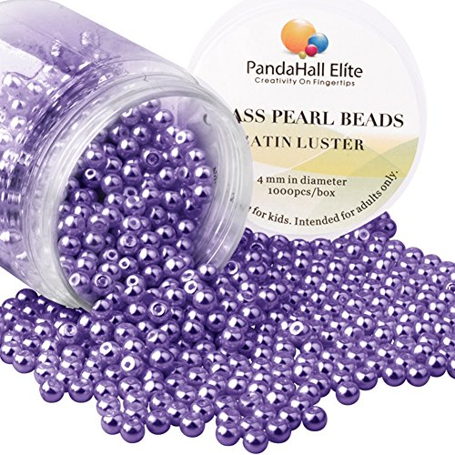 (PandaHall Elite 4mm About 1000Pcs Tiny Satin Luster Glass Pearl Round Beads Assortment Lot for Jewelry Making Round Box Kit Violet)