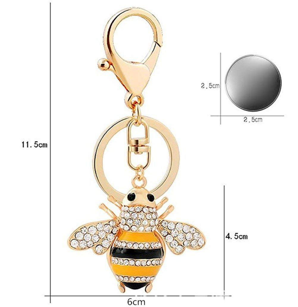 Xuxuou Woman Keyrings Cute Bee Rhinestone Keychain Novelty Metal Car Key Ring Handbag Pendant Accessories Girl Couple Gift Anniversary Gift