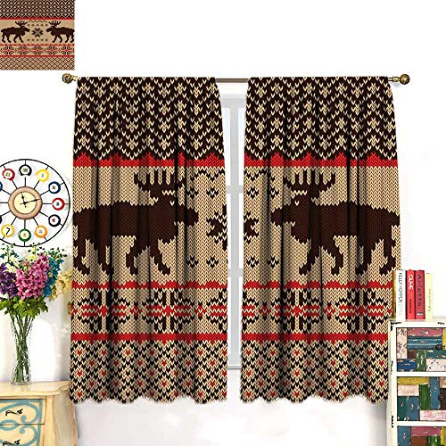 (Anniutwo Cabin Decor Blackout Curtain Knitted Swatch with Deers and Snowflakes Classic Country Plaid Digital Print Customized Curtains Brown Tan Red W63 x L72 inch)