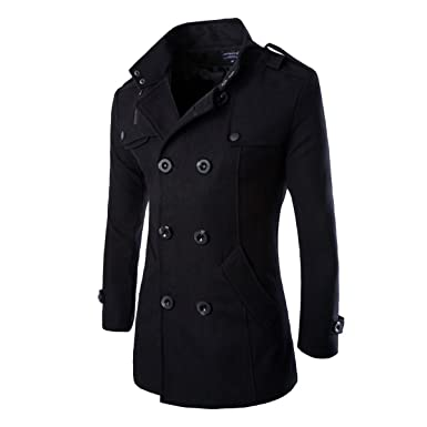 Pishon Men S Pea Coat Winter Thick Warm Slim Fit Double Breasted