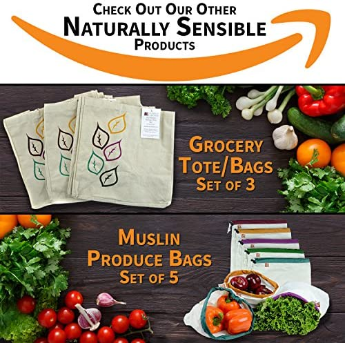 "Reusable Produce Bags The Original Eco - Friendly See Through and Washable Soft Premium Lightweight Nylon Mesh Large 12""X14"" Set of five (Red, Yellow, Green, Blue, Purple) By Naturally Sensible"