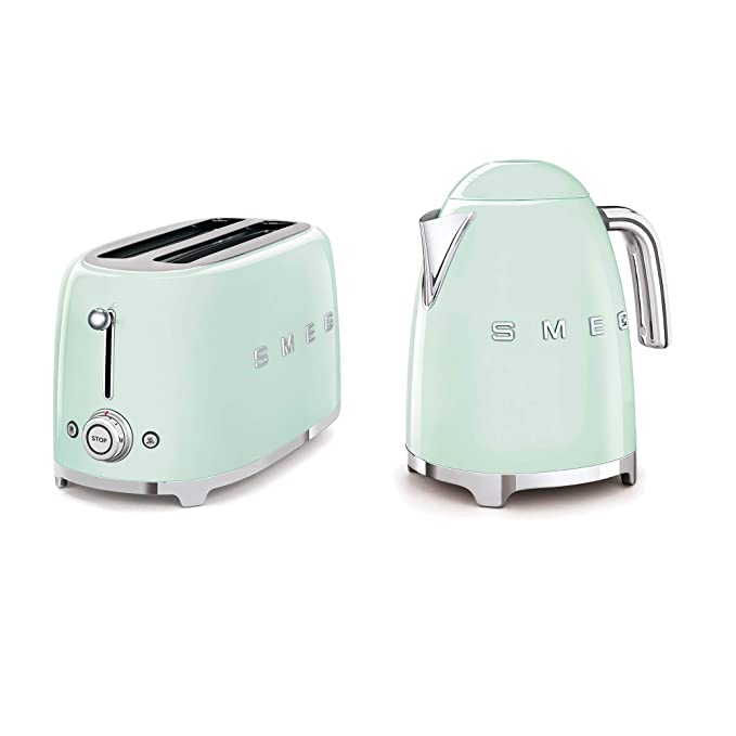 SMEG 4-Slice Toaster & 1.7-Liter Kettle in Pastel Green