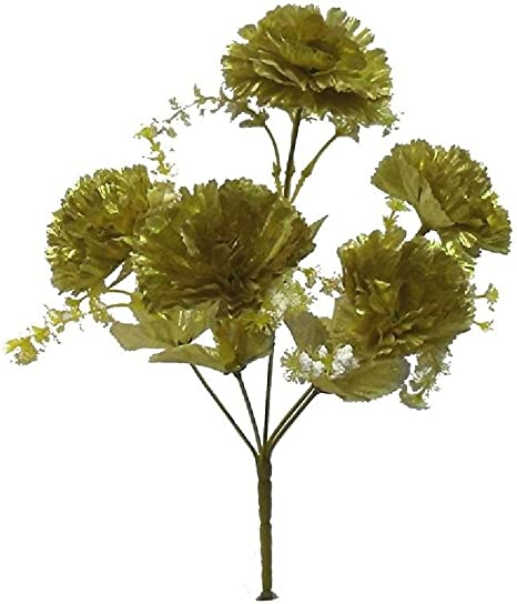5 Carnations Gold Silk Wedding Bouquet Centerpieces Flowers 50th Anniversary Amazon Co Uk Kitchen Home