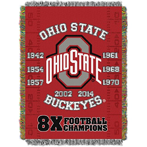 NCAA Ohio State Buckeyes 8-Time College Football Champions Tapestry Throw Bed, 48x60-Inch, Red