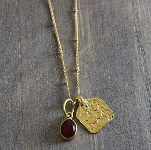 Pink Tourmaline Gemstone Indian Amulet Charm Pendant 14kt Gold Filled Necklace 18 inches (14kt Rose Pendant)