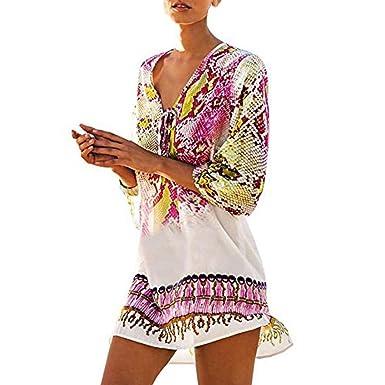 Damen Kleid FORH Frauen Strand Chiffon Kleid Reizvolle V-Ausschnitt Böhmen  Badeanzug Beachwear Bikini Kurze 6fc60f9174