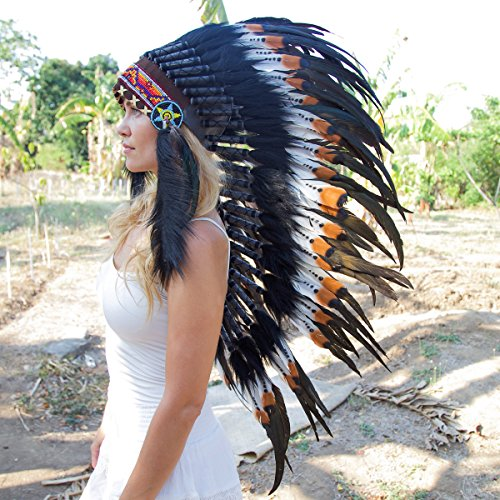 Novum Crafts Feather Headdress | Native American Indian Inspired | Brown Tips (Feathered Headdress)