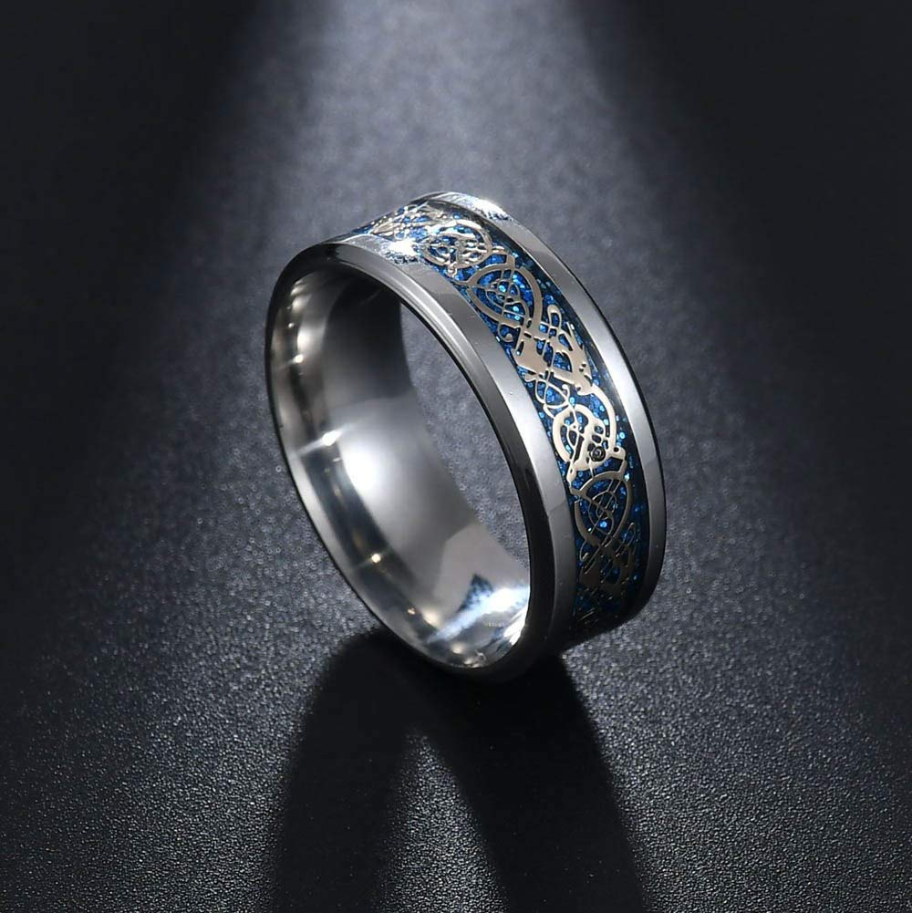 Amazon.com: JEWH Jewelry New Punk Ring for Lover - Vintage Engagement Dragon Steel Ring for Men & Women - Wedding Rings - Unique Fashion Style (Light Blue) ...