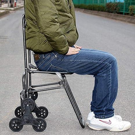 WUFENG-carrito compra Multifuncional Portátil Plegable Función De Silla Puede Subir Escaleras, 3 Colores 2 Estilos (Color : B2, Tamaño : 44x57.5x94cm): ...