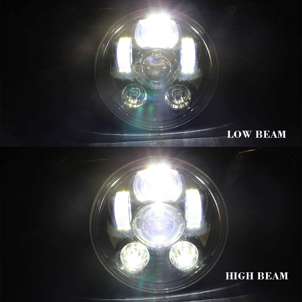 Akmties Motorcycle Headlight 5.75 Inch 5 3//4 Round LED Projection Headlight Compatible for Motorcycle Street Bob Sportster Wide Glide Low Rider Headlamp Blue /…