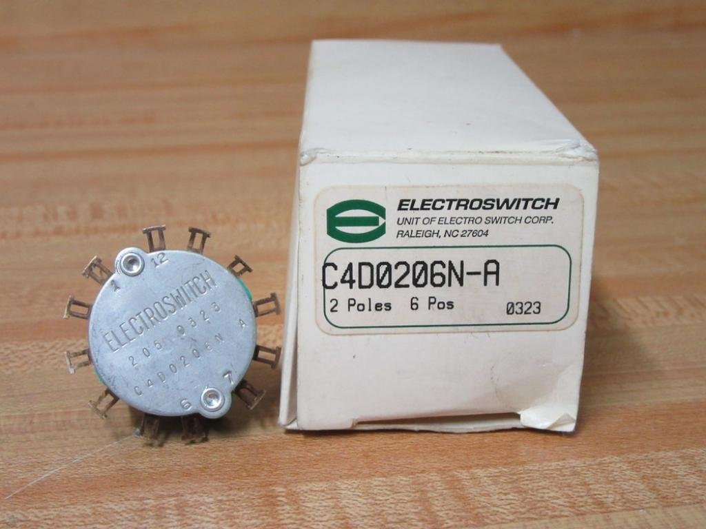 ELECTROSWITCH C4D0206N-A SWITCH, ROTARY, DP6T, 500mA, 125V