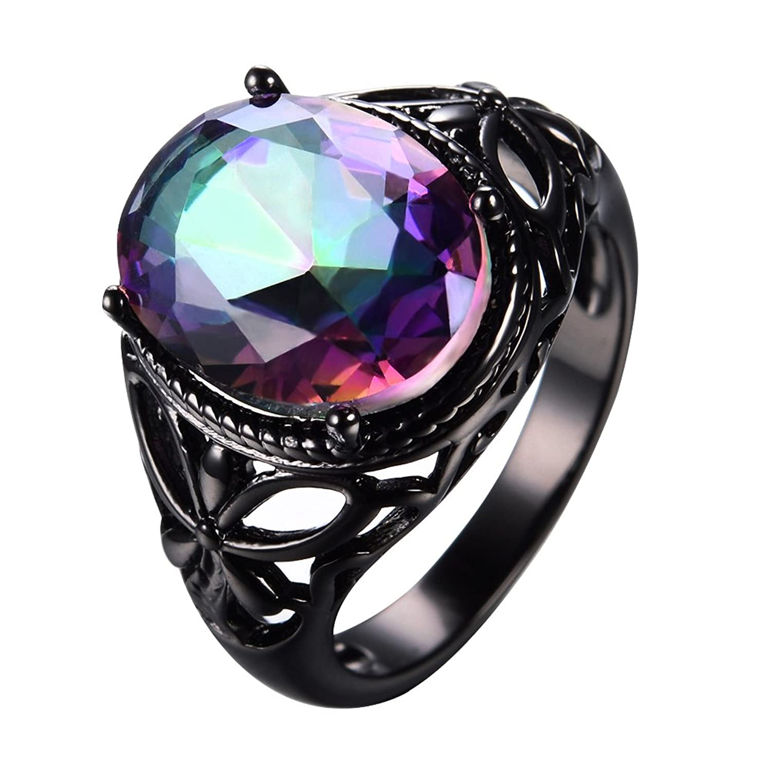 Bamos Jewelry Women's Rainbow Topaz Diamonds Ring