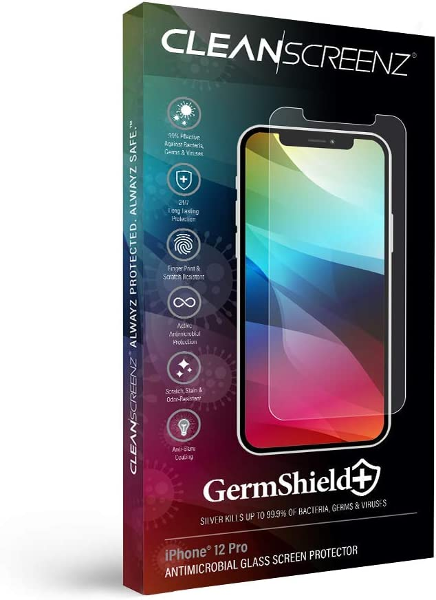 iPhone 12/12 Pro GermShield+ Bacterial Fighting Premium HD Clarity .25mm Tempered Glass Screen Protector [Case-Friendly] [3x Strength]