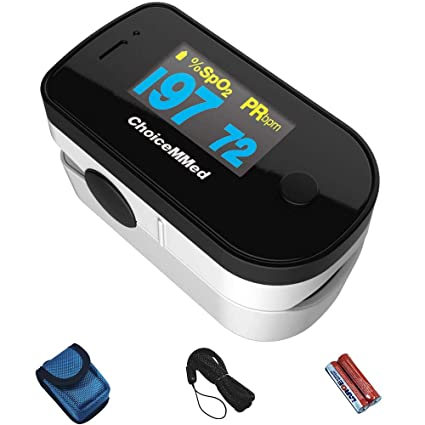 CHOICEMMED Black Dual Color OLED Finger Pulse Oximeter - Blood Oxygen  Saturation Monitor with Color OLED Screen Display and Included Batteries -  O2
