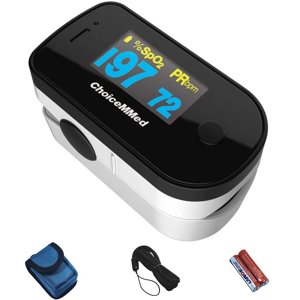CHOICEMMED Black Dual Color OLED Finger Pulse Oximeter - Blood Oxygen Saturation Monitor with Color OLED Screen Display and Included Batteries - O2 Saturation Monitor
