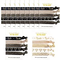 BBTO Set of Bachelorette Hair Ties Bridesmaid Gift Bride Hair Holder Bridal Shower Accessories, 55 Pieces Totally (Black and Gold)