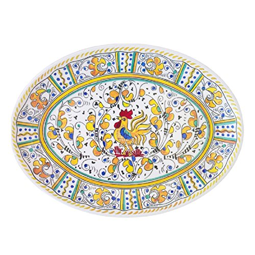 Rooster Serving Platter - Le Cadeaux Rooster Coupe Oval Platter, 16