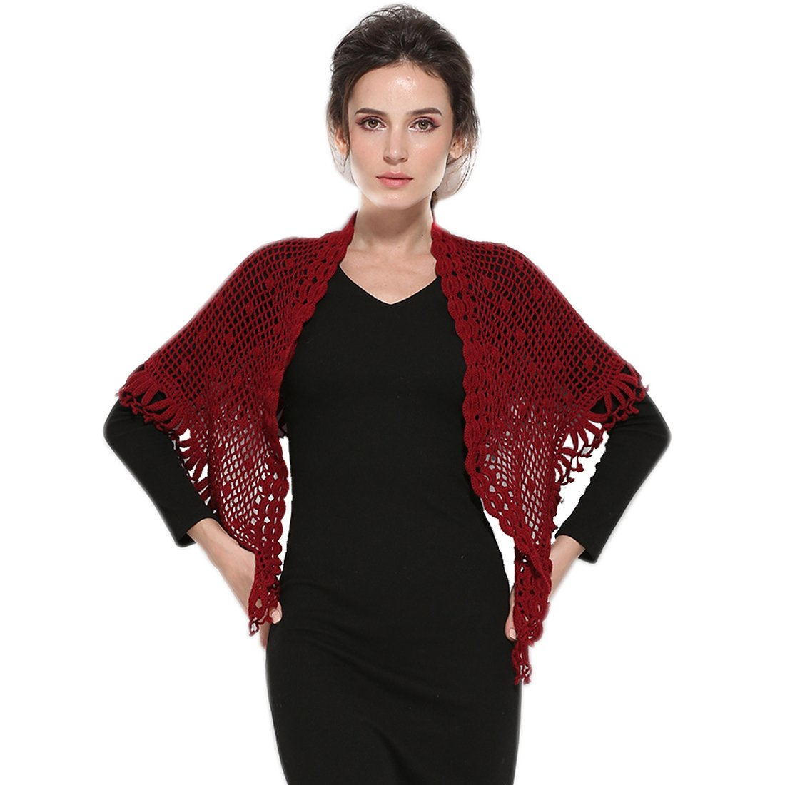 ZORJAR Scarfs for Women Winter Fashion Scarves Knitted Crochet Triangle shawls and wraps (Wine)