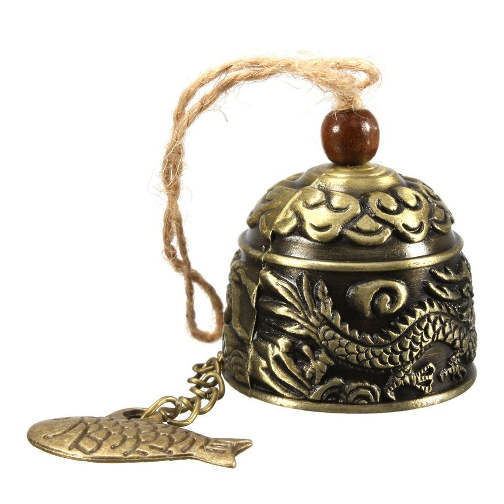 D&&R 1 x Chinese Elephant Metal Bell Brass Lucky Feng Shui Hanging Chinese Traditional Wind Chime