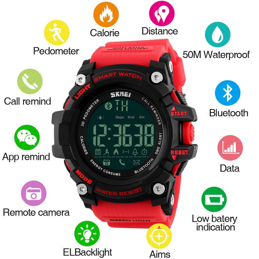 Amazon.com: Outdoor Sport Smart Watch Men Bluetooth Multifunction Fitness Watches 5Bar Waterproof Digital Watch reloj Hombre for Students,Black: Cell Phones ...