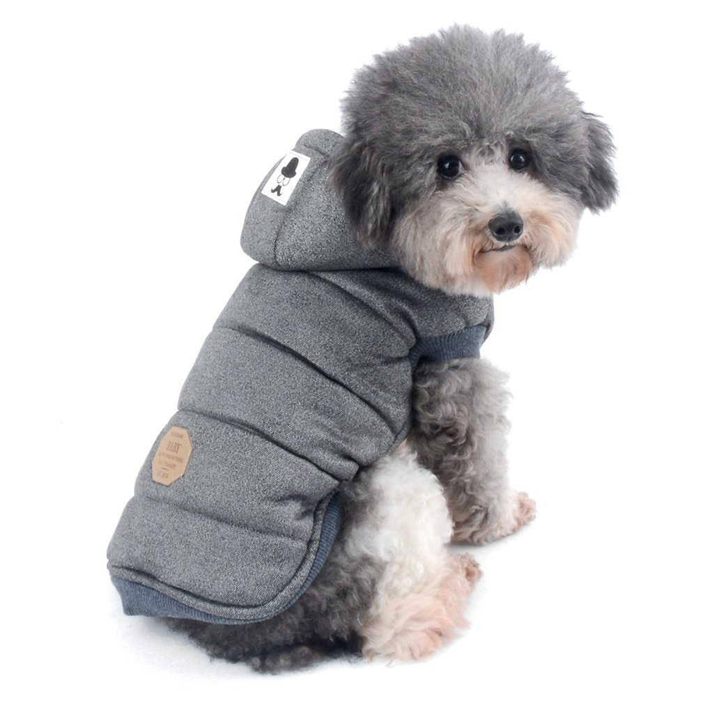 Ranphy Dog Winter Fleece Coat Cold Weather Jacket for Small Medium Dogs Pet Padded Vest Coat Grey S