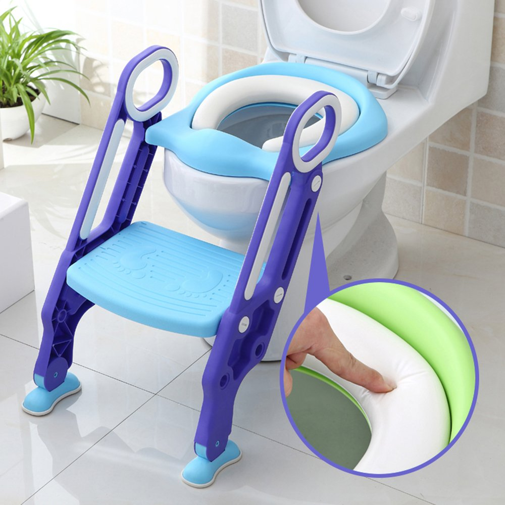 Potty Training Seat for Kids, ITOY& IGAME Toilet Seat for Potty Training Step Trainer Ladder Toilet Training Potty Seat Sturdy Comfortable Built In Non-Slip Steps soft Pad for Baby Boys Girls