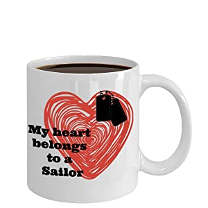 Navy Wife Coffee Mug - Military Wife - My heart belongs to a Sailor - Ceramic cup for spouse, girlfriend