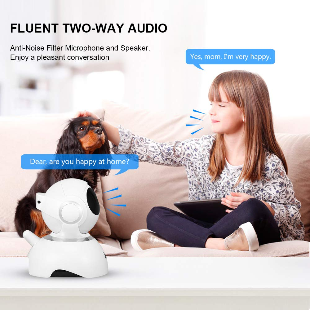 bedee Wifi IP Camera, Home Security Camera 1080P Wireless Indoor CCTV IP Camera with HD Night Vision/Two-way Audio/Motion Detection/Motion tracking Pan/Tilt/Zoom Monitor for Baby/Elder/Pet