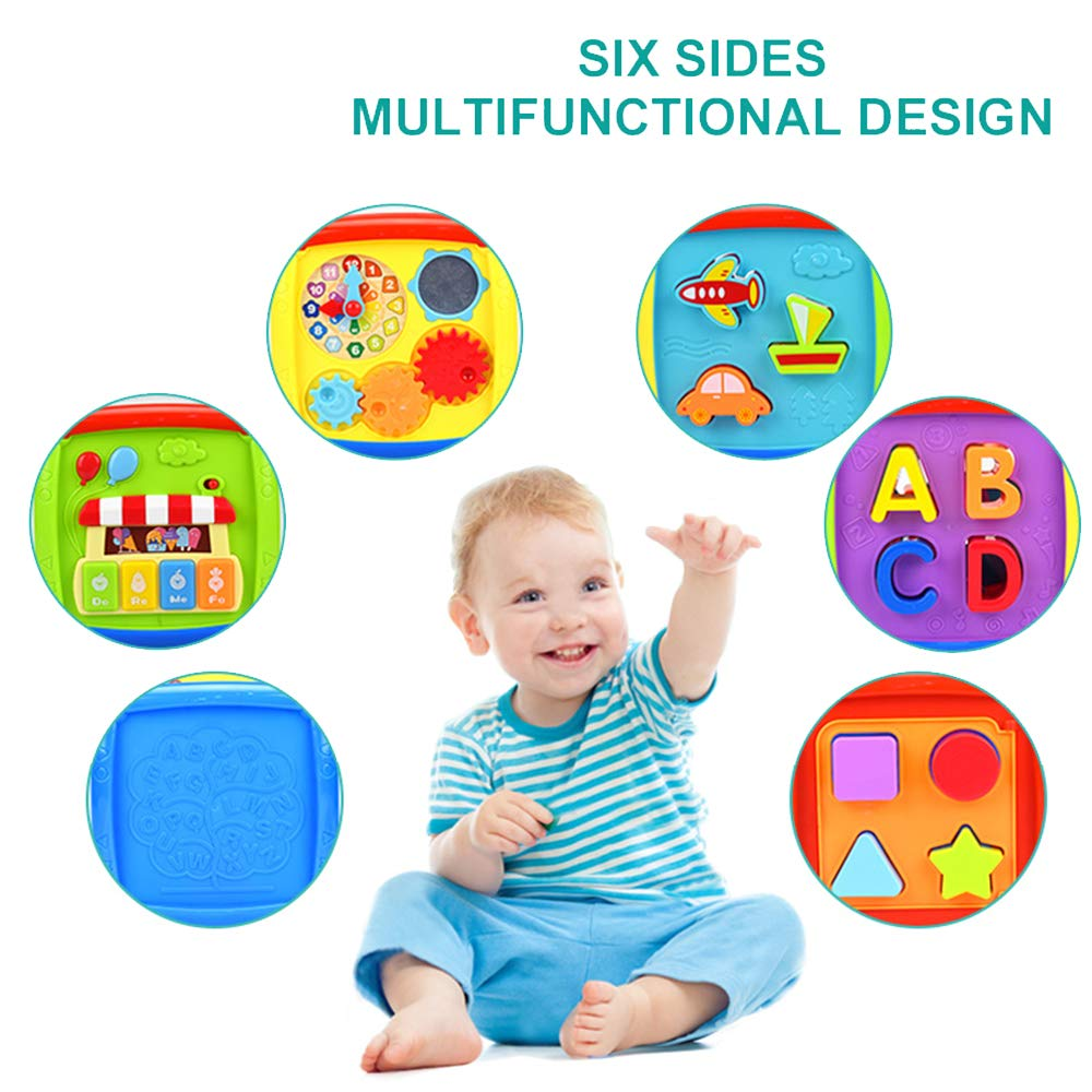 Music Panel with Keyboard HuangEr Multifunctional 6 Sided Cube Toy for 1-3 Year-Old Baby Gears Clock Including Blocks