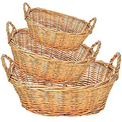 Oval Willow Bowl Group of 3 (Set of 10)(30 Baskets) by suppliesforgiftbasket