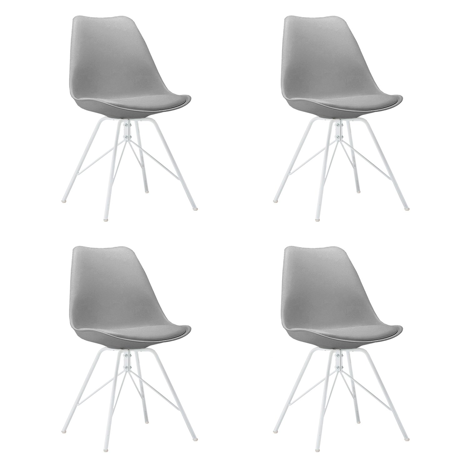 Design Furniture Collection DFC Eames Style Upholstered Dining Chair Set of 4, Grey Modern Kitchen Dining Room Side Chair with Cushion Seat Metal Leg