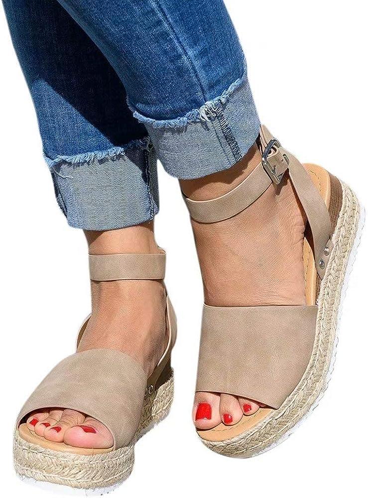 Women Flatform Sandals Ladies Summer Ankle Strap Wedge Sandal Comfy Peep Toe Buckle Breathable Shoes Brown Leopard Grey Black Size 3-9 UK