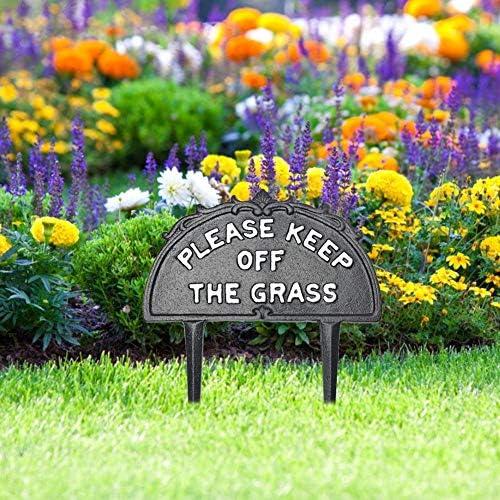 Coseyil Bitte Halten Sie Das Grasschild Mit Dem Pfahl-Metall-Hofschild Für Den Garten Im Freien Fern