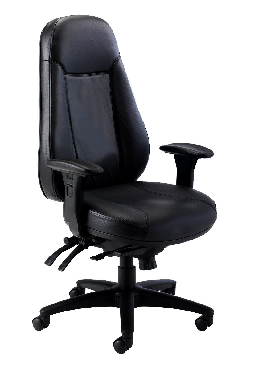 Office Hippo 24 Hour High Back Office Chair with Arms, Leather - Black:  Amazon.co.uk: Kitchen & Home