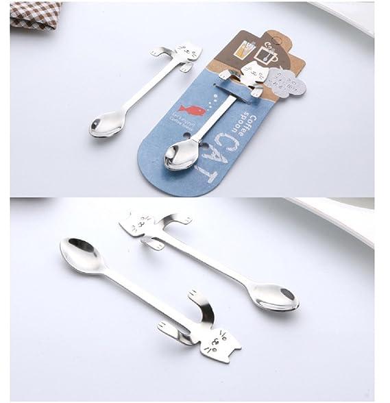 BIPY gato café cuchara mango largo cubiertos de cucharillas de té colgar copa de acero inoxidable potable herramientas Gadgets de cocina juego de 3: ...