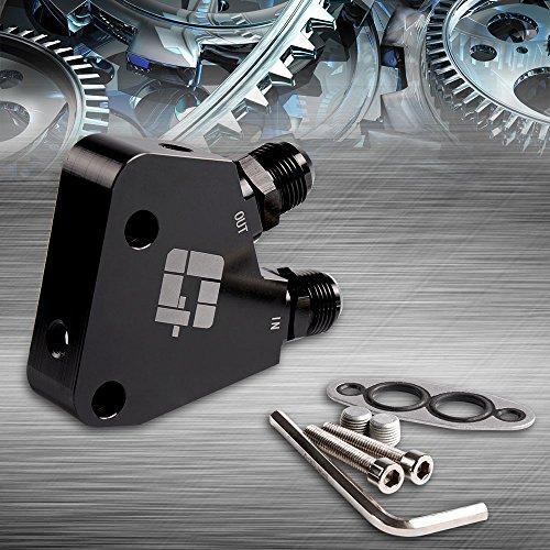 (AN10 GM Oil Cooler Adaptor Fit For BILLET LS1 LS2 LS3 LSX VE HSV VZ DRAG RACE Black)