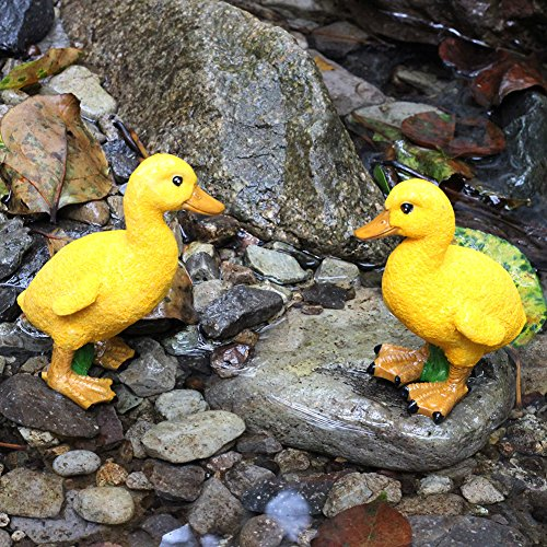 Hand Carved Resin Duck Figurine Garden decoration,DAYOUZAI Outdoor statue - Home Fairy Garden Yard Decor Ornament, Unique Gift Idea (a pair)