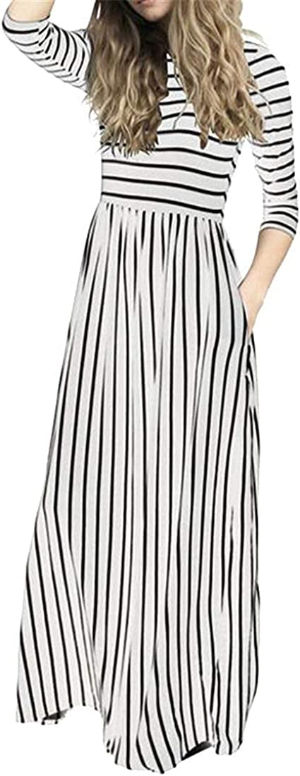 Vgvgh Women with Pockets 3//4 Sleeve Casual Stripe Flare Beach Party Maxi Dress