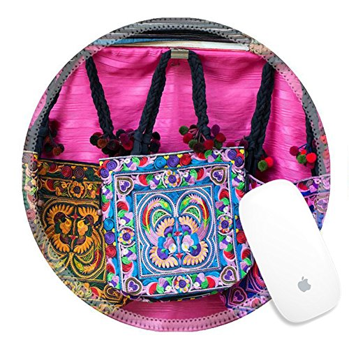 Luxlady Natural Rubber Round Gaming Mousepads Colorful tribal hand made bags by karens in North Thailand IMAGE ID - Northern Blanket Striped