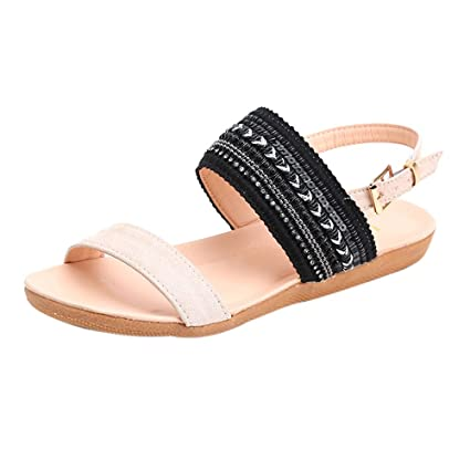 687203823 New Bohemia Womens Buckle Round Toe Open Shoes Rubber Sole Sandals for  Outdoor Flat Back Strap Breathable Sandals  Amazon.co.uk  DIY   Tools