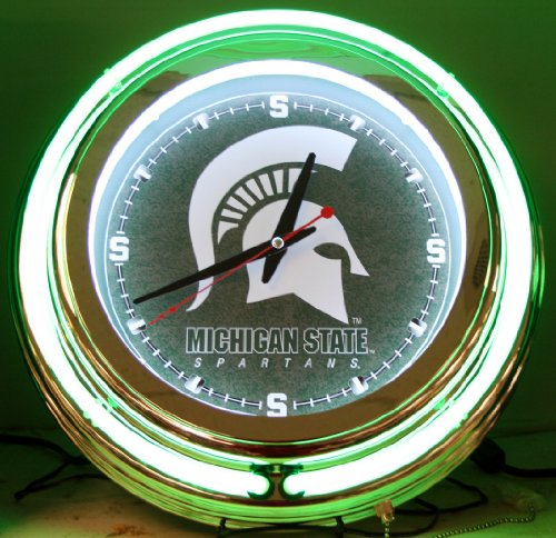 Michigan State Spartans NCAA Deluxe Neon Clock by HBS