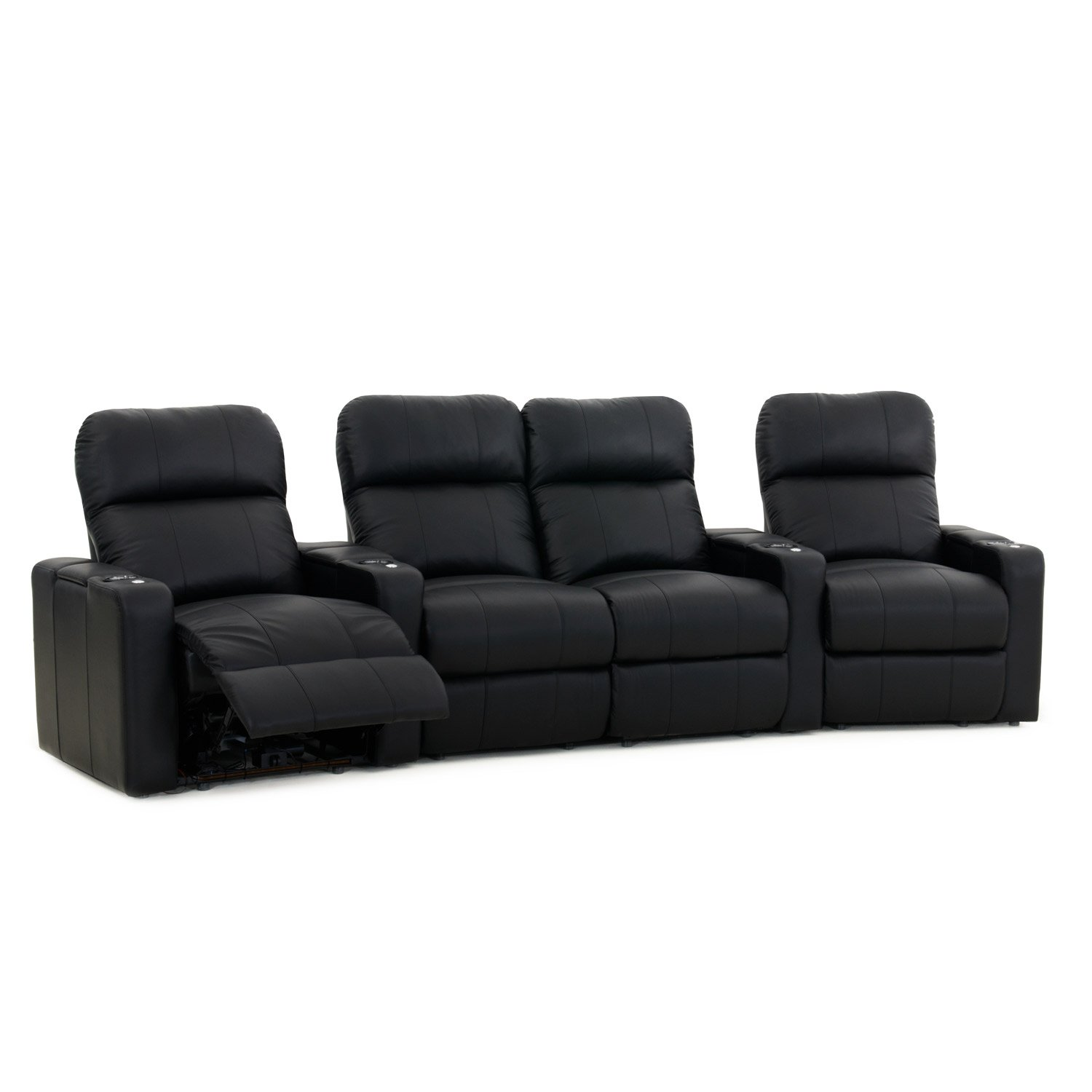 Octane Turbo XL700 Black Bonded Leather with Manual Recline (Row of 4 Middle Loveseat Curved) by Octane Seating