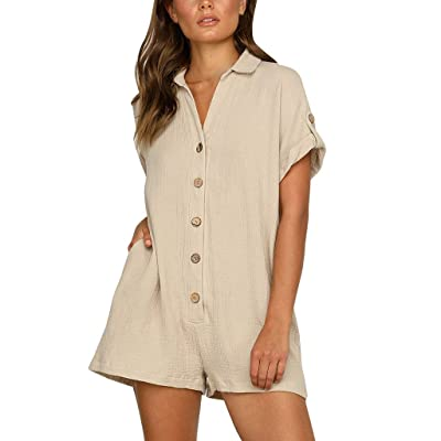 YUEZIHUAHUA Womens Jumpsuits Shorts V Neck Cuffed Sleeve Button Loose Summer Rompers with Pockets: Home & Kitchen