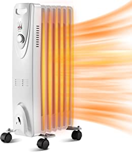 Kismile Oil Filled Radiator Heater with Thermostat, Tip-over & Overheating Protection Safety Oil Heaters, Radiant Portable Electric Space Heater with 3 Heat Settings for Home/Office/Kitchen (Grey)