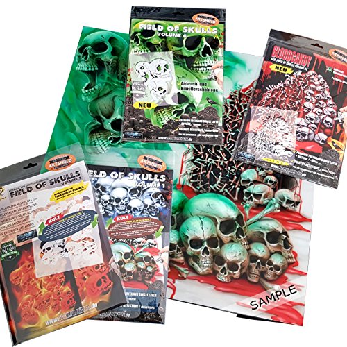 Complete Set: Schneidmeister Airbrush Stencils Field of Skulls All volumes 01, 02, 03 and 04