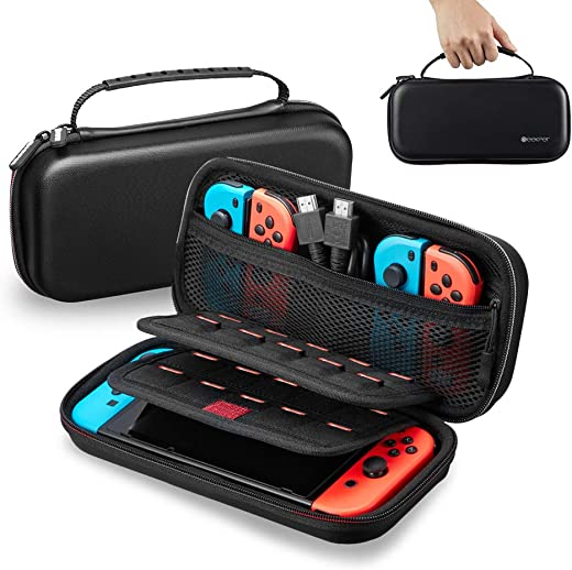 Nintendo Switch Carrying Case, Geekper Protective Hard Portable Travel Carry Case EVA Shell Pouch for Nintendo Switch Console & Accessories, Includes 29 NDS & 2 TF Card Slots, Black