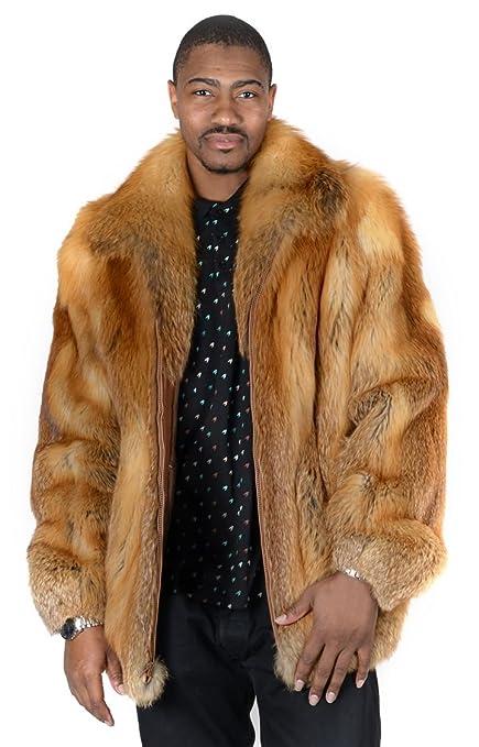 1b3badecb Amazon.com: Men's Full Skin Natural Red Fox Fur Bomber Jacket ...