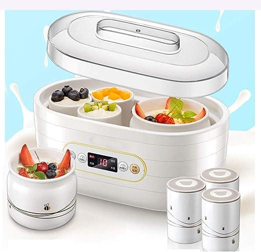 Máquina para Hacer Yogurt, con Temporizador, Función de operación de un Toque, Deliciosa máquina eléctrica de Yogurt, Viene con 1 Olla de cerámica Grande y 6 pequeñas, Hacer en casa en Cualquier