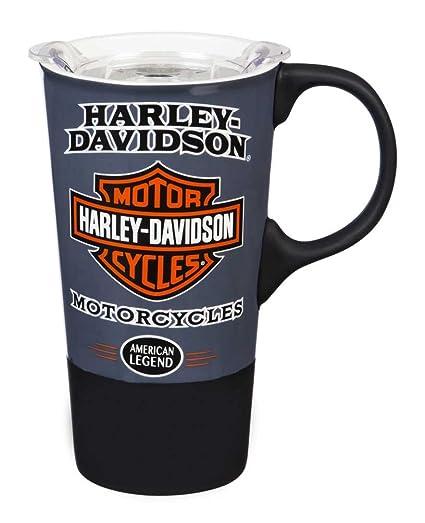 7d89af07a30 Amazon.com   Harley-Davidson American Legend Ceramic Travel Cup w/Silicone  Handle & Base: Coffee Cups & Mugs