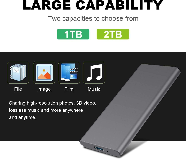 PC,MacBook Chromebook 1tb, Plata Disco Duro Externo 1tb USB 3.1 para Mac Xbox